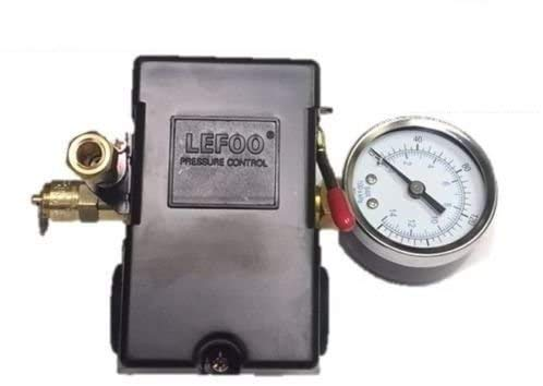 26 AMP H/D PRESSURE SWITCH AIR COMPRESSOR 90-125 4 PORT w/ 0-200 psi Gauge & 150 psi Pop off valve