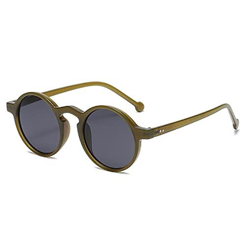 NBJSL Gafas de sol redondas retro Clásico Vintage Marco pequeño Gafas de sol Señoras Gafas de conducción negras (Exquisita caja de embalaje