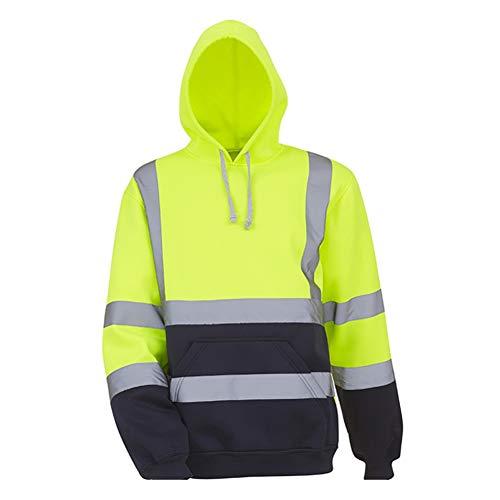 Xingsiyue Alta Visibilidad Sudadera con Capucha para Hombres - Reflexivo Chaqueta de Seguridad Ropa de Trabajo Jersey con Capucha