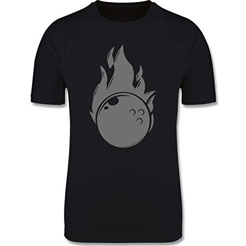 Sport Kind - Bowling Flammen Ball einfarbig - 104 (3/4 Jahre) - Schwarz - bowlingkugel 8 - F350K - atmungsaktives Laufshirt/Funktionsshirt für Mädchen und Jungen