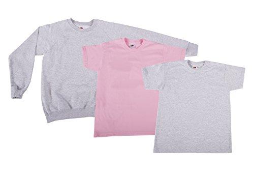 Fruit of the Loom 2Original T + 1Sweatshirt Kids T-Shirt, Mehrfarbig (Multicoloured 20), 10 Ans (Lot de 3) Garçon