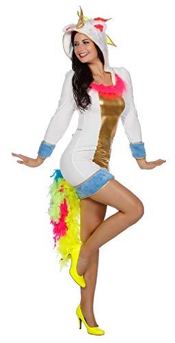 narrenkiste W4232-34 - Disfraz de unicornio para mujer, talla 34, color blanco y multicolor