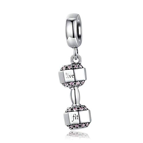 Dumbbell Bracelet Necklace Charms,925 Sterling Silver Charm Bead Retro Sport Dumbbell Dangle Fit Pandora Charms Bracelets & Necklaces, Valentine's Day Present
