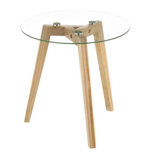 Mesa Auxiliar Redonda, de Cristal y Madera, Pequeña. Ideal para Salón/Cocina. Diseño Nórdico (40cm X 40cm X 40cm) - Hogar y Más