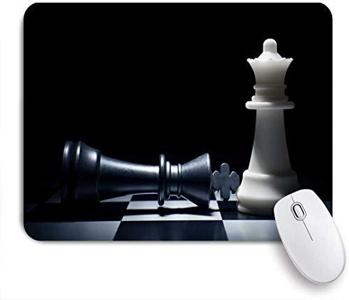 NANITHG Stoff Mousepad,Schwarzes Schach International Queen King Schachfigur Schachbrett Cooles Puzzlespiel,Rutschfest eeignet für Büro und Gaming Maus