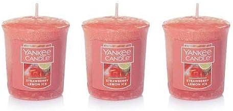 شمعة يانكي مجموعة من 3 شموع صغيرة من الثلج والليمون والفراولة 49.5 جم لكل واحد.