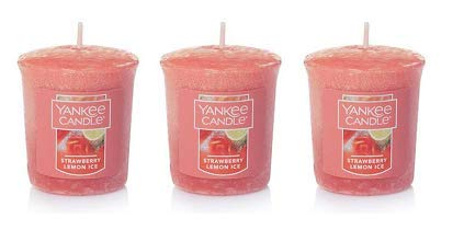 Yankee Candle Lot of 3 Strawberry Lemon Ice Samplers Votive Candles 1.75 Oz. Each.