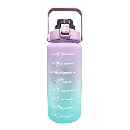 SeniorMar-UK Bouteille d'eau de Motivation 2L avec poignée et pichet d'eau en Paille Amovible avec marqueur de Temps pour Vous Assurer de Boire suffisamment d'eau quotidiennement Violet Vert 11x33cm