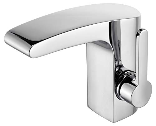 KEUCO Waschtisch-Armatur chrom für Waschbecken im Bad, mit Ablaufgarnitur Zugstange, Höhe 14cm, Design-Wasserhahn, Waschtischmischer, Elegance