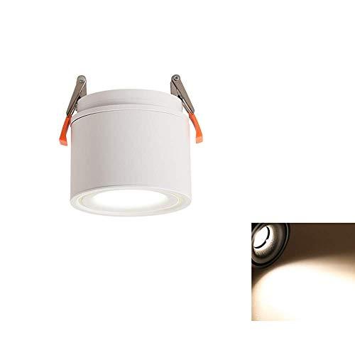 Weißer rotierender faltender vertiefter Scheinwerfer Nordic Personality Household Commercial Lighting Downlight CRI85 hohe Farbe PFEILER vertiefte Deckenleuchte (Farbe: 3000k-5W)