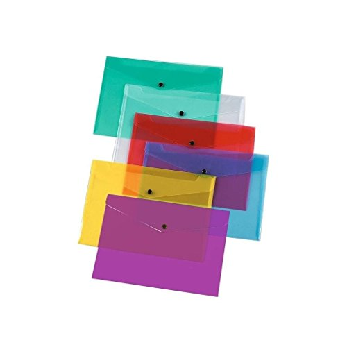 File Folders A4 Plastic Wallets Documents School Office Stationary Paper Filing Pack of 12