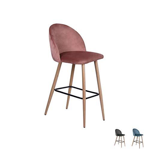Taburete de bar Nellie, de terciopelo, con respaldo, para bar y trencillas, para el comedor y la cocina, tela de terciopelo en gris, azul, rosa, altura del asiento: 65 cm o 75 cm