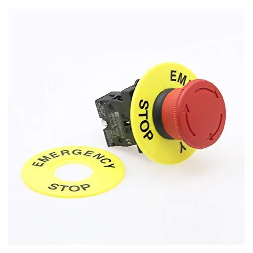 XINGYAO Interruptor Giratorio Cambio de botón de Parada de Emergencia de la Cabeza de la Seta roja de 22 mm XB2 Lay37 No/NC Alarma Interruptor de botón (Color : XB2 542)