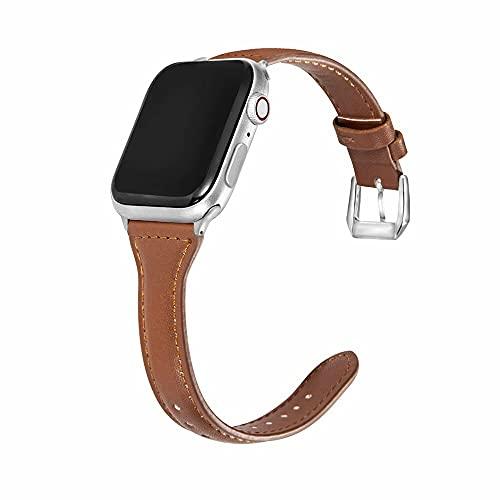Hspcam Hebilla de metal de cuero bandas delgadas para Apple Watch Series 6 SE 5 4 3 2 38 mm 42 mm correa pulsera para iwatch 40 mm 44 mm (para 38 mm y 40 mm, marrón)