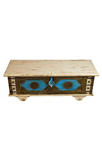 Orientalische Truhe Kiste aus Holz Murali 115cm groß in Weiß | Vintage Sitzbank mit Aufbewahrung für den Flur | Aufbewahrungsbox mit Deckel im Bad | Betttruhe als Kissenbox oder Deko im Schlafzimmer - 5