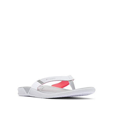Columbia Women's PFG Rostra Flip Flop Sport Sandal, Grey ice/red Coral, 7