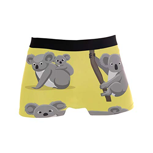 ALARGE Herren Boxershorts, süßes Koala-Muster, Kurze Unterwäsche, weiche Stretch-Unterhose für Männer und Jungen, S-XL Gr. M, Multi