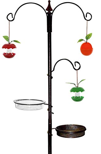 Ossian Premium Feeding Station – Large Freestanding Outdoor Home Garden Wild Bird Feeder House Station Perch Table Bracket Stand with Tray and Waster Dish - Easy to Assemble – No Tools Required