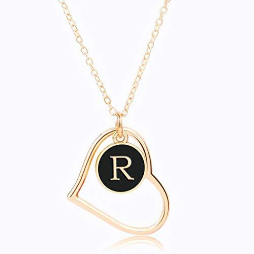 Collar Jewelry Colgante Collar De Cadena De Oro Personalizado De Moda Doble Lado Negro Redondo Corazón Colgante Carta Collares Y Colgantes Pareja Joyería Regalos