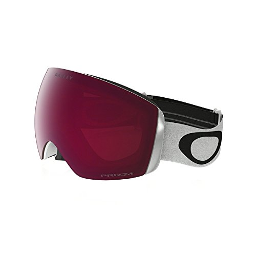 Oakley Erwachsene Snowboardbrille Flight Deck XM, lens Prizm Rose (Matte White with black logo and white band), One Size, OO7064-02