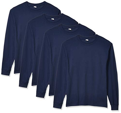 Hanes Men's 4 Pack Long Sleeve Comfortsoft T-Shirt, Navy, Large