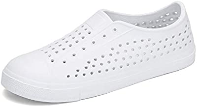SAGUARO Mens Womens Lightweight Breathable Slip-On Sneaker Garden Clogs Beach River Sandals Water Shoes White