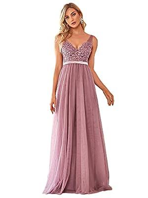 Ever-Pretty Women's Double V-Neck Lace Appliques Wedding Party Bridesmaid Dress Orchid US16