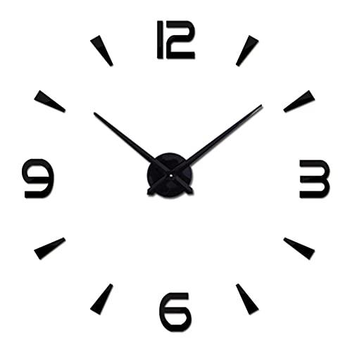 Reloj de Pared Grande de Cuarzo de Espejo AcríLico de Bricolaje,Naturaleza Muerta Relojes Modernos Sala de Estar Decoración del Hogar Pegatinas 3D Relojes de Pared