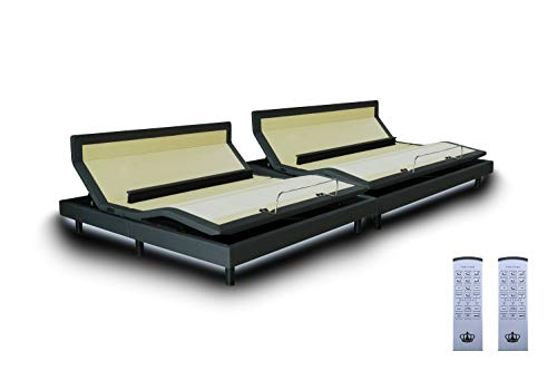 DynastyMattress DM9000s Split King Adjustable Bed Base Frame, Top of The Line Quality, (Independent Head Tilt & Lumbar Support) Quad Massage, Bluetooth, Audio Music