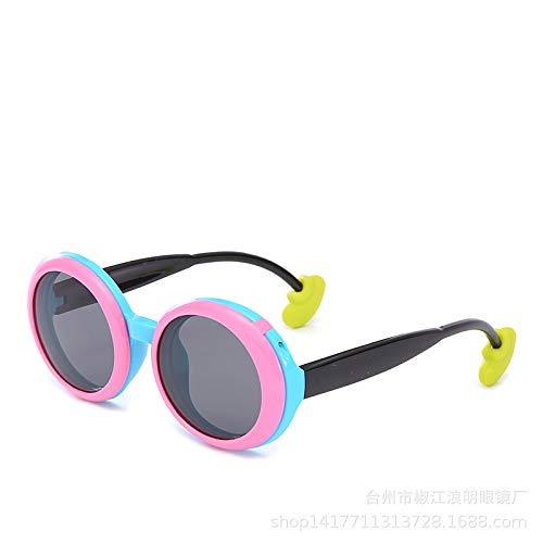 Gafas De Sol Redondas Para Niños Material De Silicona Gafas De Sol Para Niños Espejo Bebé Material De Silicona Gafas De Sol Voltear Sabiduría Para Niños Marco Azul Cubierta De Polvo