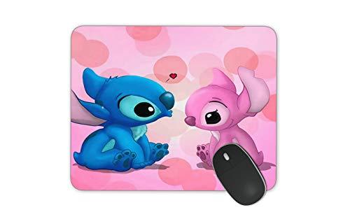 JNKPOAI Stitch Mouse Pad Lovers Stitch Mousepad Pink Heart Mouse Pad Disney Mousepad (quadratus Stitch)