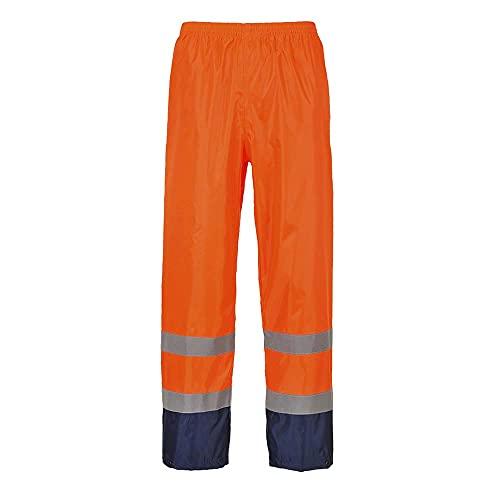 Portwest H444 Pantalone Classic Anti Pioggia Alta Visibilità, Bicolore, Arancione/Navy, L