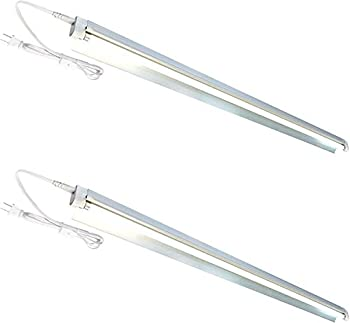 2-Pack T5 HO Grow Light - 1 Bulb Light System - Fluorescent Hydroponic Indoor Fixture Bloom Veg Daisy Chain with Bulbs  4 Foot & w/ Reflector  DL8041R 2pack  Cool White | Vegetative