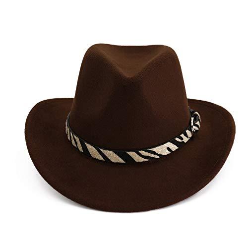 no-branded Jzjeur Hombres Mujeres Sombrero de Vaquero Occidental con cinturón Sombrero de Jazz Pop Sombrero de ala Ancha Sombrero (Color : Drak Coffee, Size : 56-58)