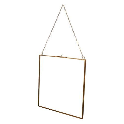 VALICLUD Glas Hängen Bilderrahmen Quadratischen Probenhalter Glas Kunstwerk Zertifikat Foto Bild Display Rahmen Geometrische Verzierung für Jubiläumshochzeit 24X24cm