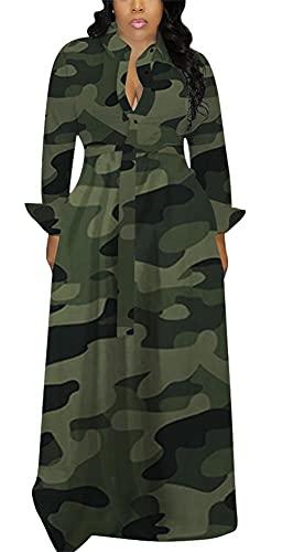 Women Sexy Long Sleeve Maxi Dress Elegant Camo Button Down V Neck Aline Swing Dresses Plus Size Clubwear Fall Outfits