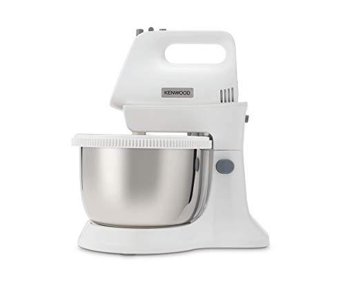 Kenwood Chefette Metal HMP34.A0WH Küchenmaschine mit rotierender Schüssel aus Metall, 450 W, 5 Geschwindigkeitsstufen + Turbo, Schneebesen und Knethaken, Weiß