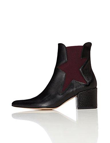 find. Chelsea Boots Damen aus Leder sternförmige Bündchen, Schwarz (Black), 39 EU