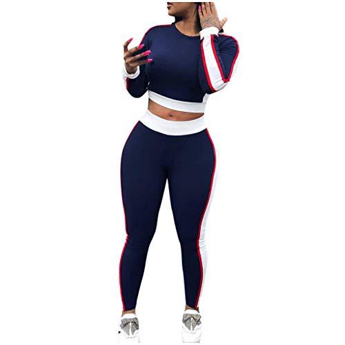 Allence Chándal para mujer, 2 unidades, con rayas y pantalón largo casual azul XL