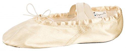 Par de zapatillas de ballet de Tanzmusterde satén con suela dividida de piel, en color rosa y champán, champán, 23
