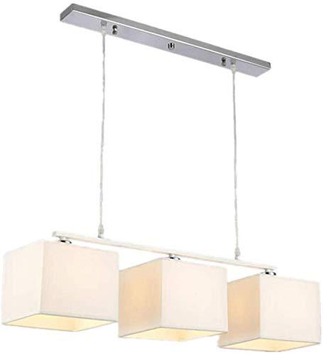 LED 3 koppen ijzer kunst linnen hanglamp, zwart metaal in hoogte verstelbare hanglamp E27 moderne persoonlijkheid doek lampenkap huishouden kroonluchter YZPDD (kleur: zwart-3 koppen)
