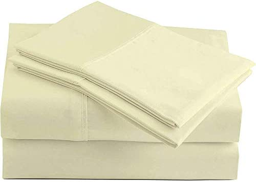 1000 Thread Count King Sheets Egyptian Cotton Bed Sheet Set, 4 Pc Deep Pocket Ivory Bedding Set, Long-Staple Combed Cotton, Soft & Breathable, Fits Mattress Upto 18″