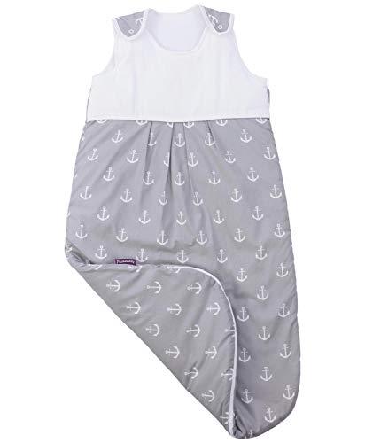 Puckdaddy Schlafsack Greta, 110 cm lang, 100% Baumwolle mit Anker Muster in Grau, waschmaschinengeeignet