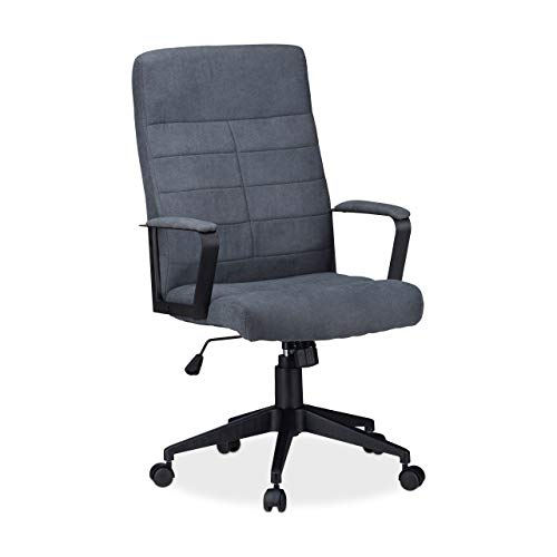 Relaxdays Bürostuhl, höhenverstellbarer Drehstuhl, ergonomisch, bequem, 120 kg belastbar, HxBxT: 116 x 62 x 62 cm, grau