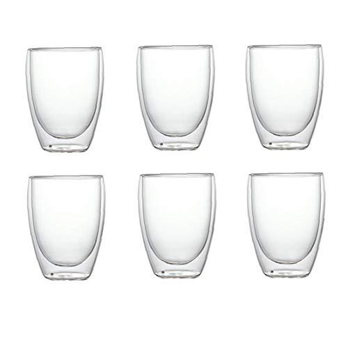 Taza de cristal a prueba de calor de doble pared Copa de vidrio de cerveza taza de café expreso Conjunto hecho a mano del té vaso de whisky de cristal Copas de chocolate caliente Vidrios 6PCS