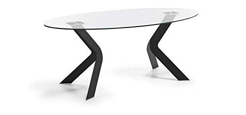 La Forma - VIRGINIA-O Tavolo Ovale 200x110 Epoxy Nero Vetro Trasp