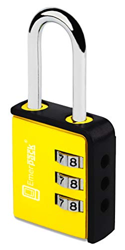Combination Padlock with 3 Digits/Long Shackle Keyless Code Lock for Gym or School Locker/Lightweight Combi in Different Colours Three Numbers (Yellow-Black)