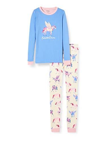 Hatley Mädchen Organic Cotton Long Sleeve Appliqué Pyjama Sets Zweiteiliger Schlafanzug, Weiß (Mystic Unicorns 100), 2 Jahre