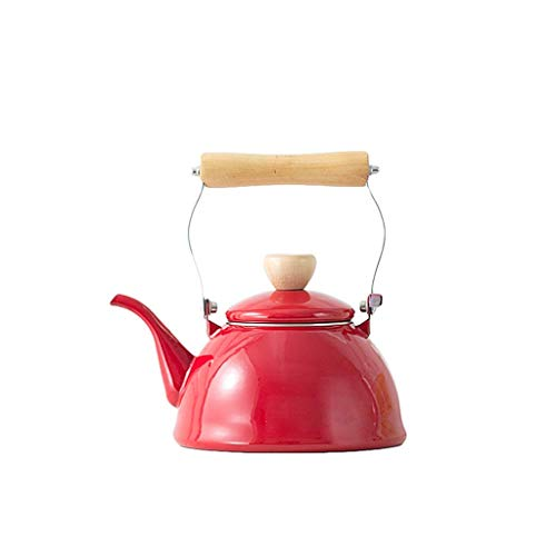 Porzellan Teekanne Red Print Design Pfeifen Teekessel Emaille Teekannen Pfeifen Wasserkocher Mit Traditional/Retro Auslauf Für Kochfeld Oder Herd Leichtgewicht A.