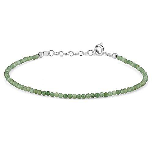 Gemshiner - Pulsera de jade verde con cadena de plata de ley para hombre, regalo para ella, esposa, cumpleaños, aniversario de boda, pulsera de tenis para mujer